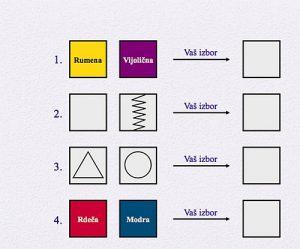 Vijolična ali rumena? Trikotnik ali krog?